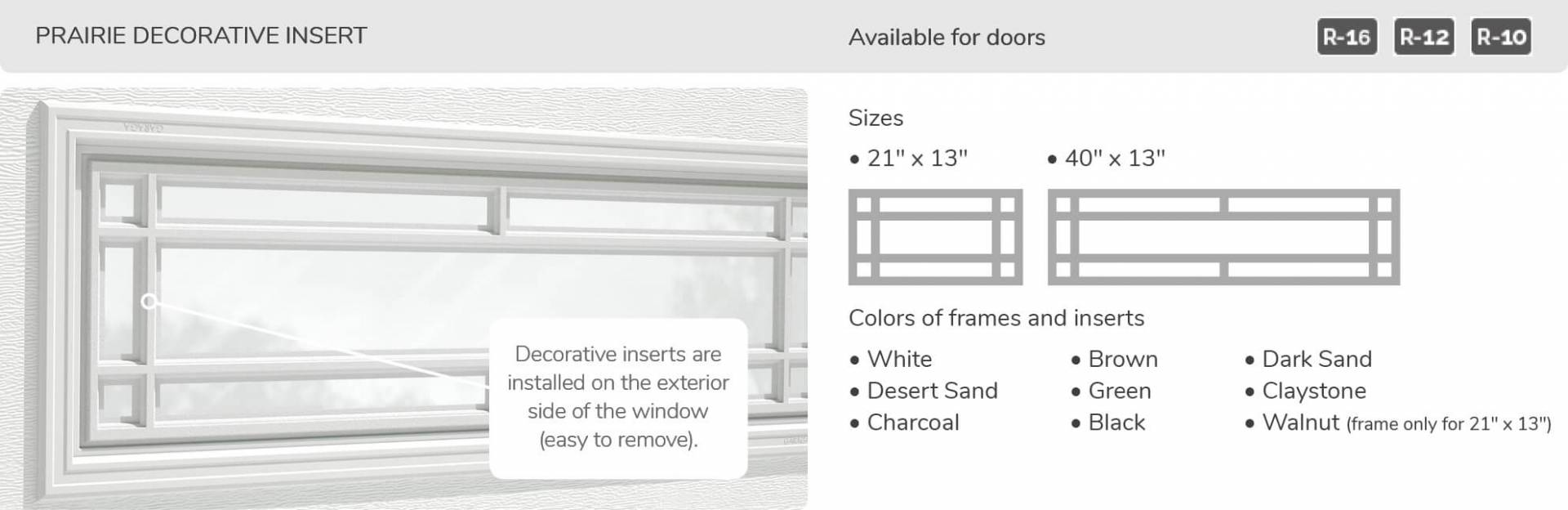 Prairie Decorative Inserts, 21' x 13' and 40' x 13', available for doors R-16, R-12, R-10